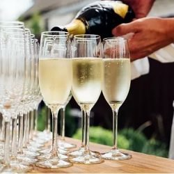 Enjoing a glass of champagne or prosecco in the Garden of Groeneveld Castlen Kasteel Groeneveld met Pasen