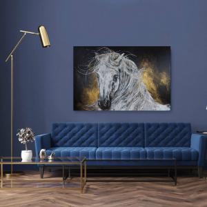 Schilderij van Pieternel in interieur te zien en te koop op Woon en lifestyle beurs exclusive spring fair